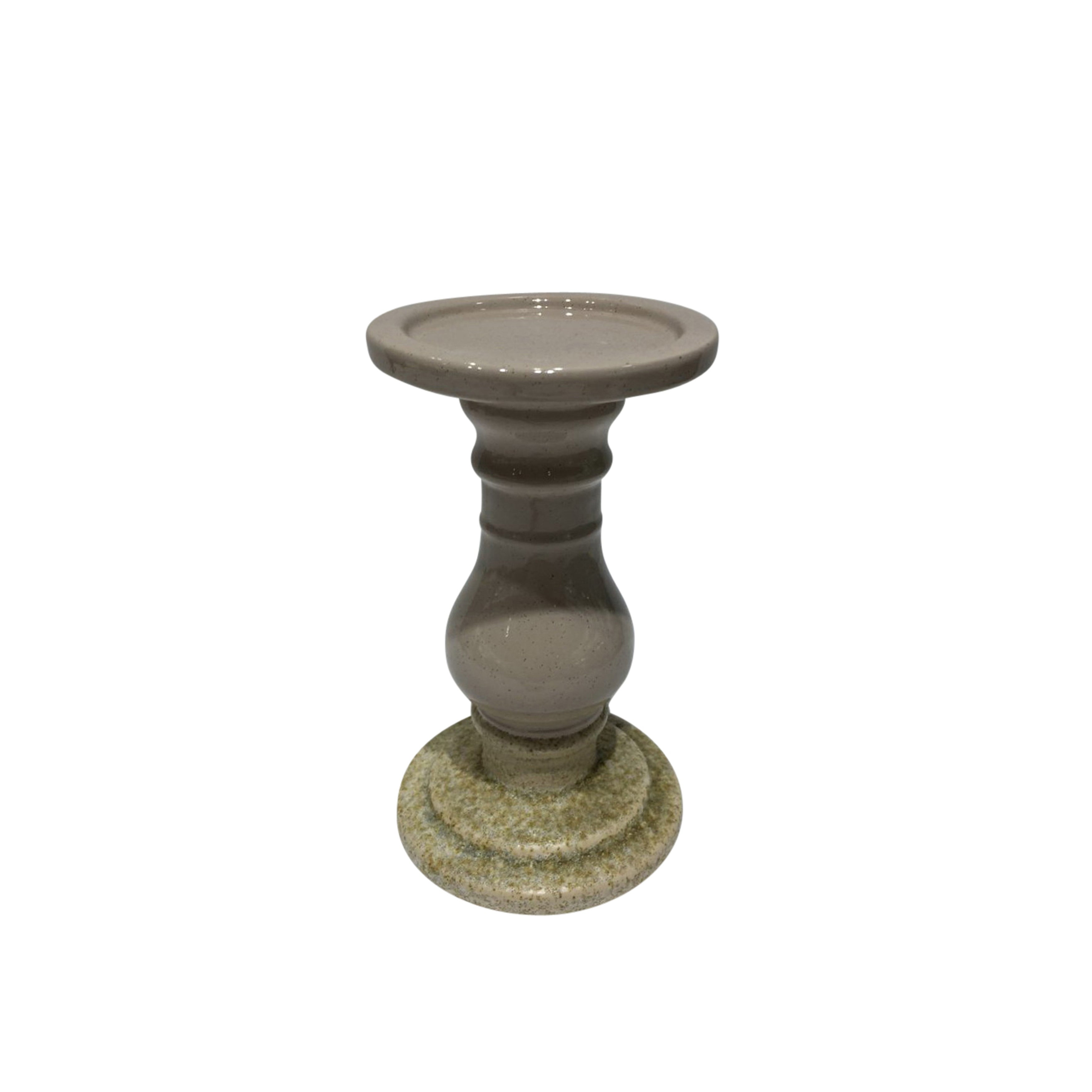 Decorative Ceramic Candle Holder in Pedestal Shape, Small, Beige