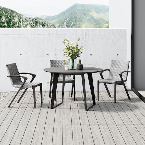 Amsterdam 47in. Outdoor Round Dining Table in Gray Concrete