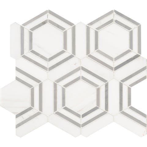 "MSI SMOT-GEORAMA-GRIGIOP Georama 11"" x 13"" Hexagon Floor and Wall"