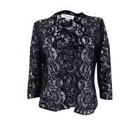 Calvin Klein Women's Petite Three-Quarter-Sleeve Lace Shrug (PM, Black) - Black - pm