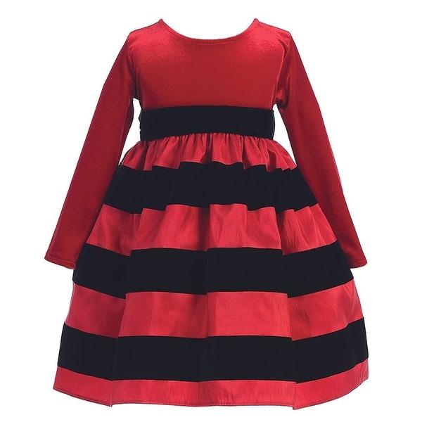 857e8bc51 Shop Red Black Flocked Stripe Long Sleeve Christmas Dress Girl 6M-10 ...