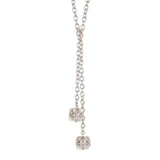 Karen Kane Womens Lariat Necklace Orbs Glass Stones - Silver