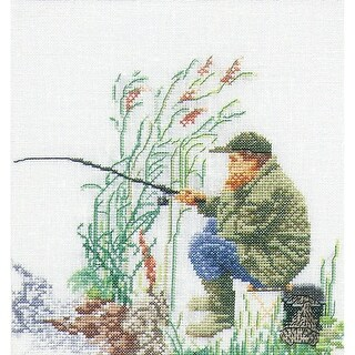 """Fishing On Aida Counted Cross Stitch Kit-6.25""""X6.75"""" 18 Count"""