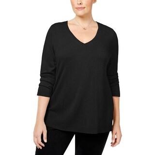 Karen Scott Womens Plus V-Neck Sweater V-Neck Solid