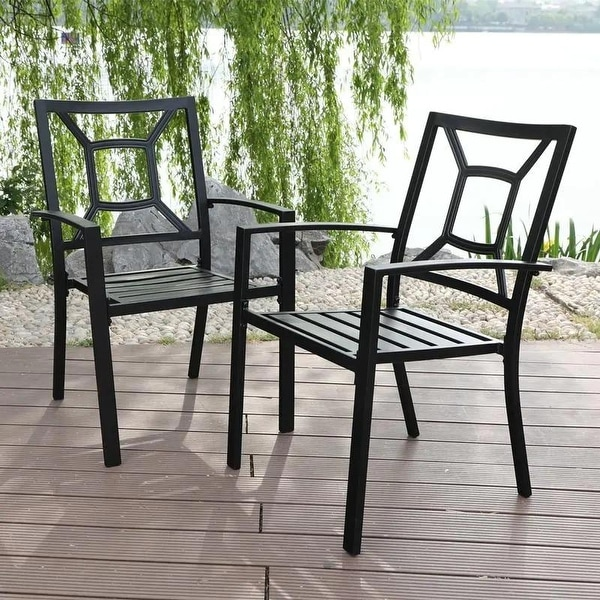 PHI VILLA 2-Piece Patio Wrought Iron Chair Outdoor Dining Set with Armrest. Opens flyout.