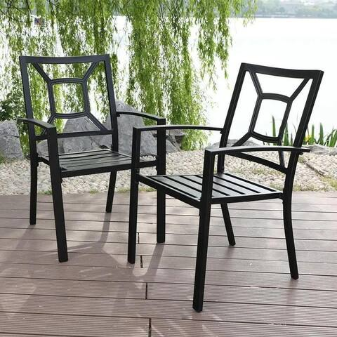 PHI VILLA 2-Piece Patio Wrought Iron Chair Outdoor Dining Set with Armrest