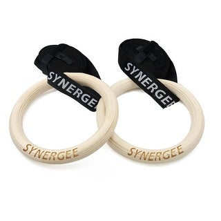 """Synergee 8"""" Diameter Wood Olympic Gymnastics Rings With Adjustable Straps - Wooden"""