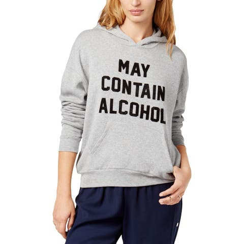 Project Social T Womens May Contain Alcohol Hoodie Heather Long Sleeves