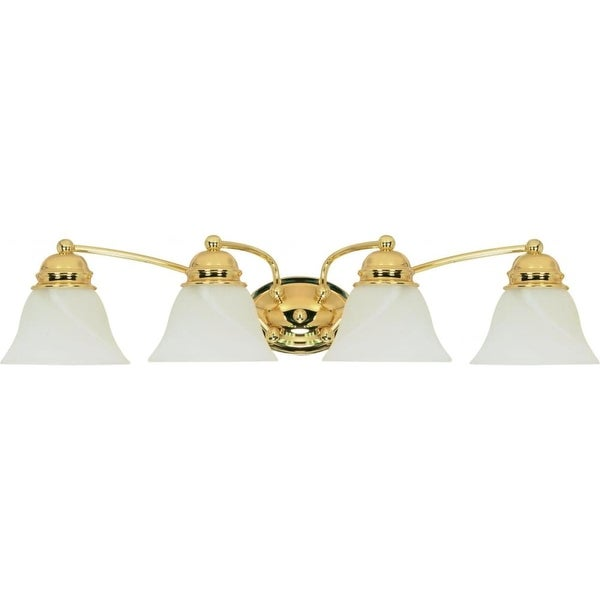 """Nuvo Lighting 60/351 Empire 4-Light 28-3/4"""" Wide Bathroom Vanity Light with Frosted Glass Shades - Polished brass"""