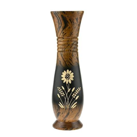 Handmade Decorative Daisy Flower Black and Brown Mango Tree Wooden Vase (Thailand)