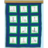"""Themed Stamped White Quilt Blocks 9""""X9"""" 12/Pkg-Lighthouses"""