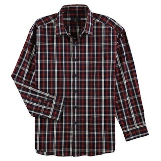 """Link to Club Room Mens Regular Fit Plaid Button Up Dress Shirt, Blue, 18"""" Neck 34""""-35"""" Sleeve Similar Items in Shirts"""