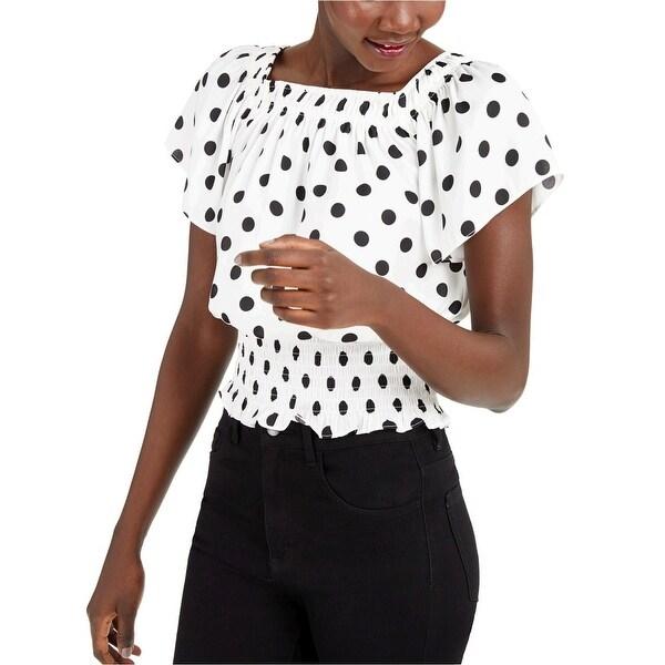 INC International Concepts Womens INC Dot-Print Short-Sleeve Top - XS. Opens flyout.