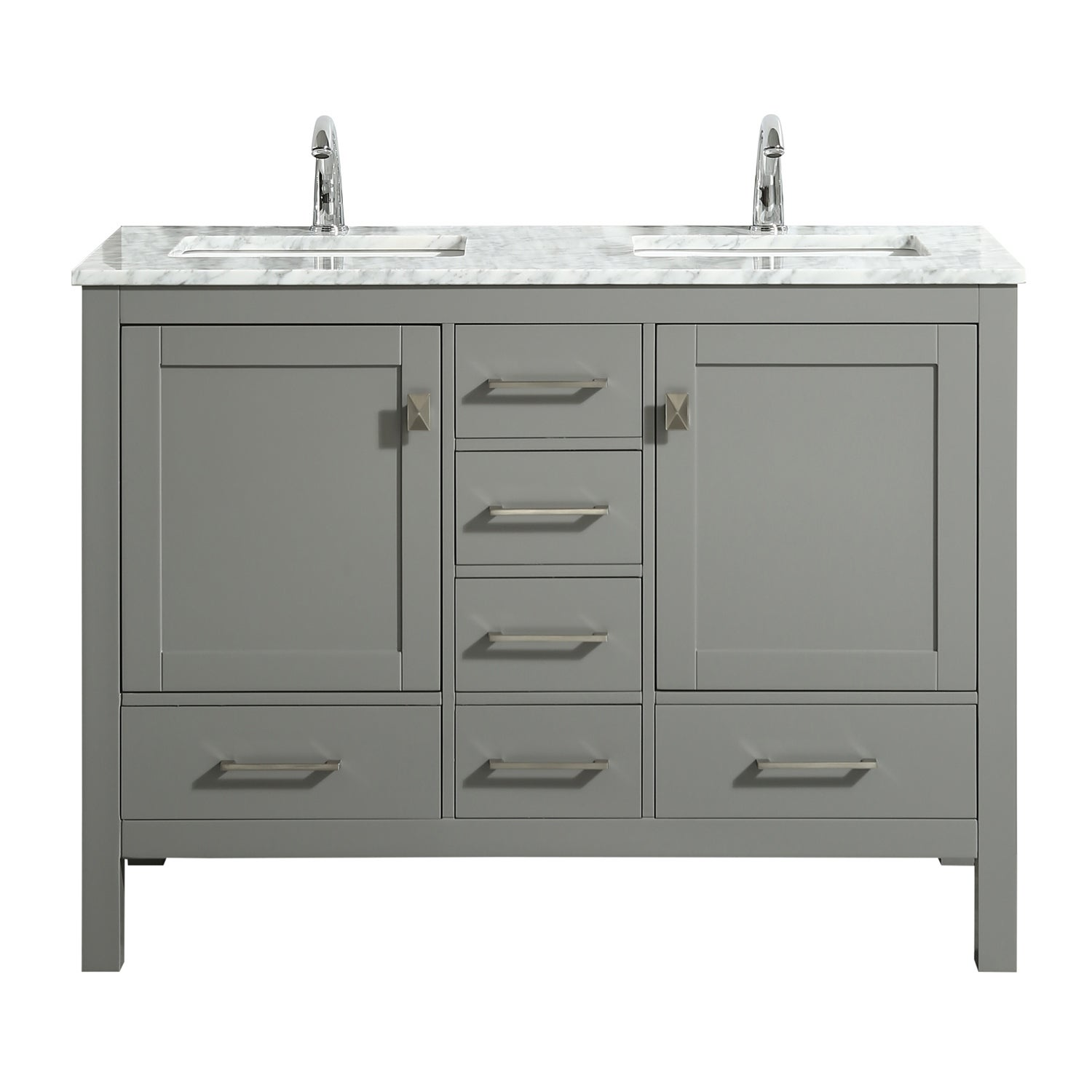 Eviva London 48 X 18 Gray Transitional Double Sink Bathroom Vanity W White Carrara Top Overstock 23565165