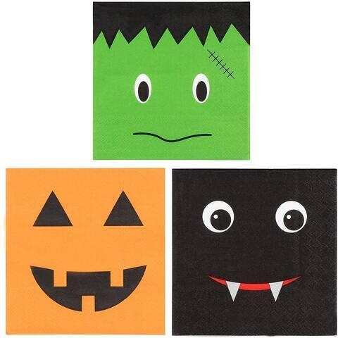 150 Halloween Pumpkin Frankenstein Bat Party Paper Napkins 3 Fun Designs 50 Each