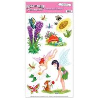 "Club Pack of 108 Fun and Colorful Fairies & Friends Peel 'N Place Cutout Decorations 24"" - Green"