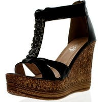 Refresh Grita-01 Women's Beaded Platform Ankle Strap Cork Wedge Heel Sandal - Black