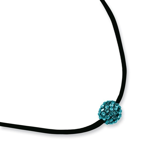 Black IP Teal Crystal Fireball on Satin Cord Necklace - 16in