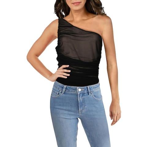 Aqua Womens Bodysuit Mesh Ruched - Black