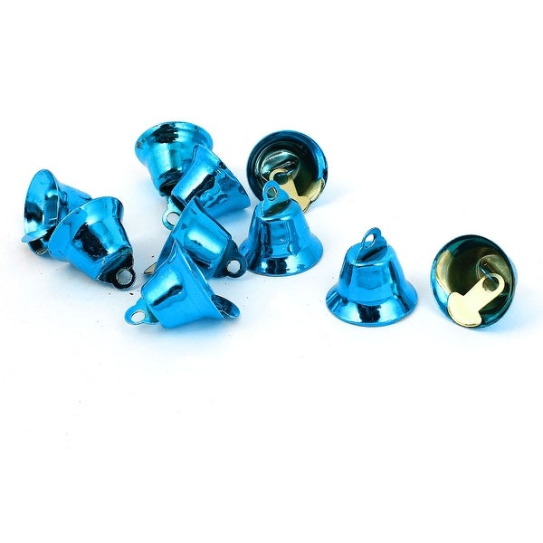 Unique Bargains 10 Pcs Metal 15mm Dia Christmas Tree Ring Bell Hanging Decoration Blue