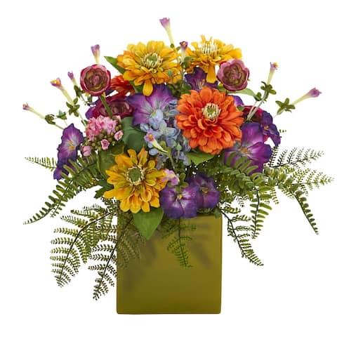 "Mixed Floral Artificial Arrangement in Green Vase - 14"""