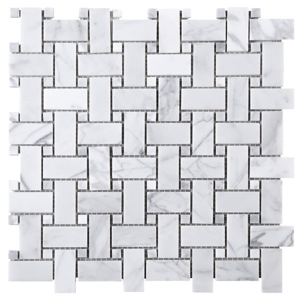 """TileGen. 1"""" x 2"""" Basket Weave White Carrarra Marble Mosaic Tile in White Floor and Wall Tile (10 sheets/9.6sqft.). Opens flyout."""