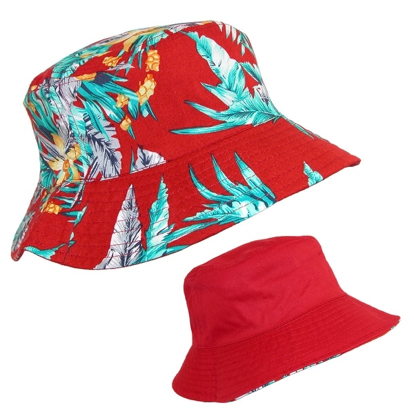 CTM® Cotton Hawaiian Reversible Travel Bucket Hat