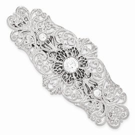 Silvertone White Crystal Filigree Large Barrette