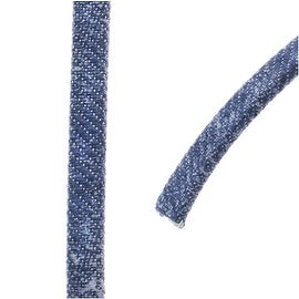 Faded Denim Cord, Flat 5x2mm Strand, Sold By The Foot, Denim Blue