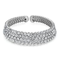 Bling Jewelry Four Row Crystal Bridal Choker Silver Plated Necklace 14.5 Inches