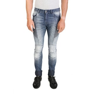 Pierre Balmain Men's Skinny Fit Biker Denim Jeans Pants Blue