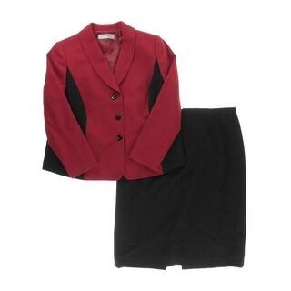 Tahari ASL Womens Plus Leo Colorblock 2PC Skirt Suit