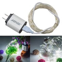 USB Operated LED String Lights Waterproof Ultra Thin Copper Wire Starry Light (with 5V 2A USB charger) White