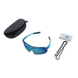 ROBESBON Authorized Rimless Eyewear Frame Goggles Lens Cycling Glasses Blue Set