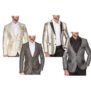 Link to Porto Filo Men's Dress Suit Jacket Floral Luxury Jacquard Blazer Similar Items in Sportcoats & Blazers