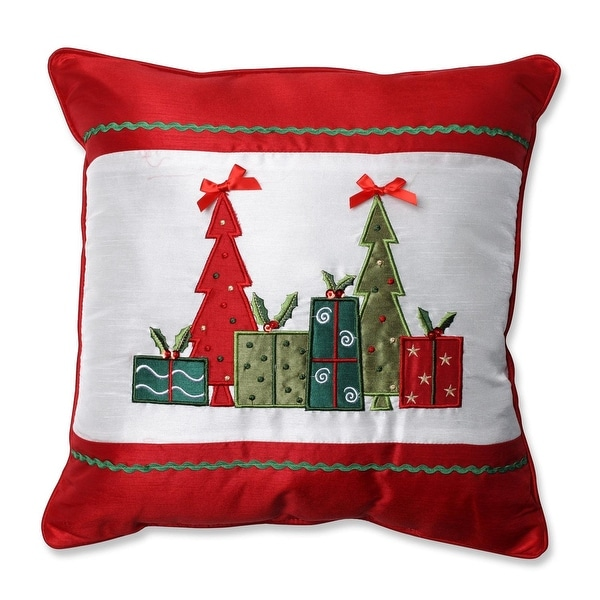"""16.5"""" Red Christmas Trees and Presents Embroidered Square Throw Pillow with Coordinating Trim - WHITE"""