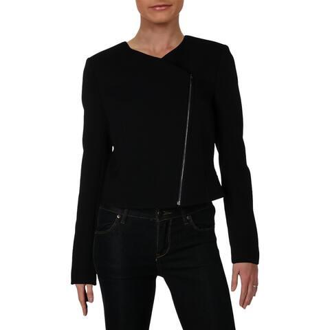 BOSS Hugo Boss Womens Juleama Collarless Blazer Asymmetric Zip-Front