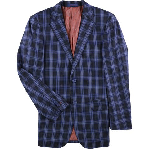 English Laundry Mens Plaid Two Button Suit - 38 Regular / 31W x UnfinishedL