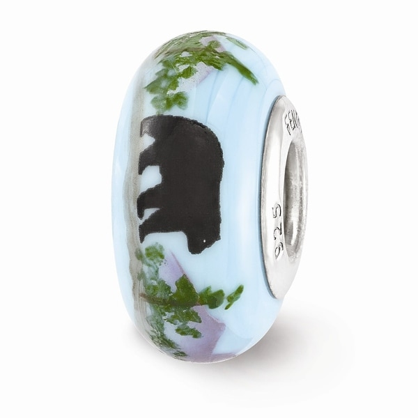 Sterling Silver Reflections Blue Hand Painted Mountain Bear Glass Bead