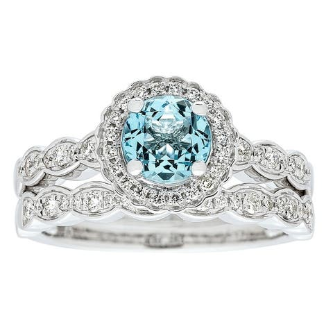 Anika and August 14k White Gold Aquamarine and 3/8ct TDW Diamond Bridal set Ring (G-H, I1-I2)