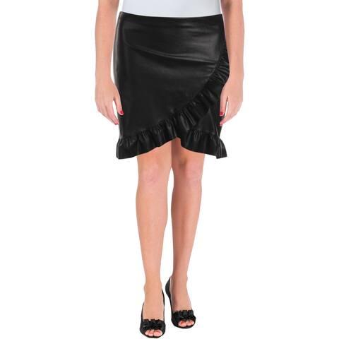 Aqua Womens Mini Skirt Ruffled Faux Leather