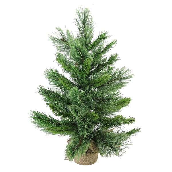"24"" Mixed Cashmere Pine Medium Artificial Christmas Tree in Burlap Base - Unlit - 2 Foot"