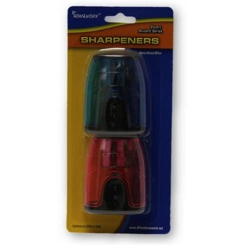 Pencil Sharpeners, Assorted Colors - 2 per Pack, Case of 48