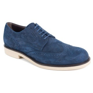 Tod's Men's Solid Navy Suede Wingtip Oxfords