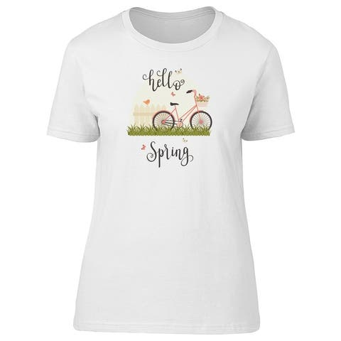 Pink Bicycle With Floral Basket Tee Women's -Image by Shutterstock
