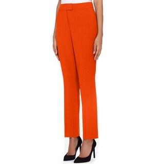 Tahari by ASL NEW Burnt Orange Womens 4 Flat-Front Stretch Dress Pants