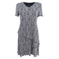 Connected Women's Petite Printed Tiered Dress (8P, Black/White) - Black/White - 8P