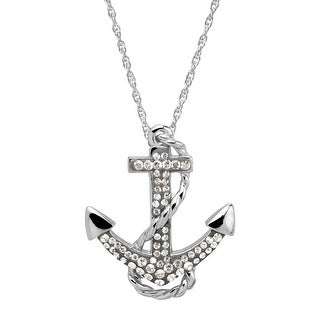Crystaluxe Anchor Pendant with Swarovski Crystals in Sterling Silver - Grey