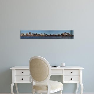 Easy Art Prints Panoramic Image 'Boston Skyline in winter on half frozen Charles River, Massachusetts' Canvas Art