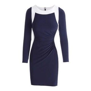 Lauren Ralph Lauren Womens Contrast Trim Long Sleeves Wear to Work Dress - 2p
